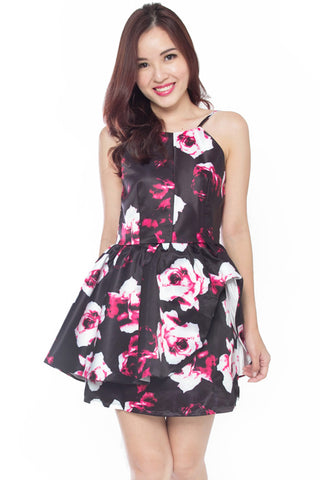 Giace Floral Peplum Dress (Pink)