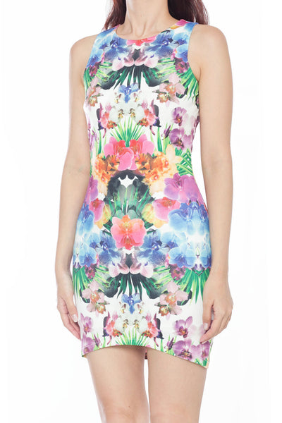Calist Abstract Floral Fitted Dress