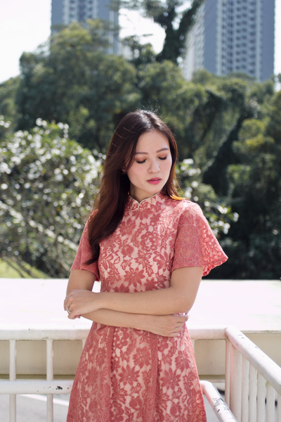 Demlyn Oriental Lace Dress (Coral)