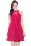 Keishe Lace Sweetheart Dress (Red)