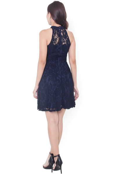 Keishe Lace Sweetheart Dress (Navy)