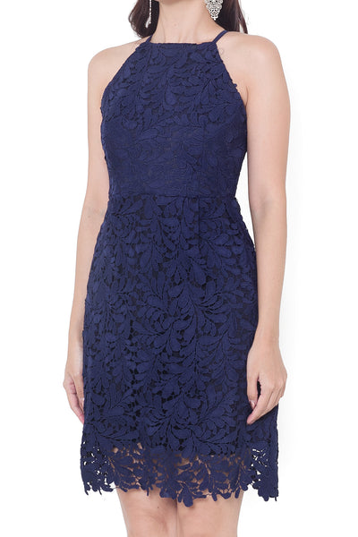 Verone Crochet Dress (Navy)
