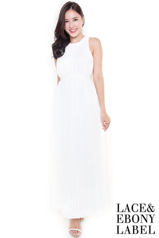 Alridge Pleat Maxi Dress (White)