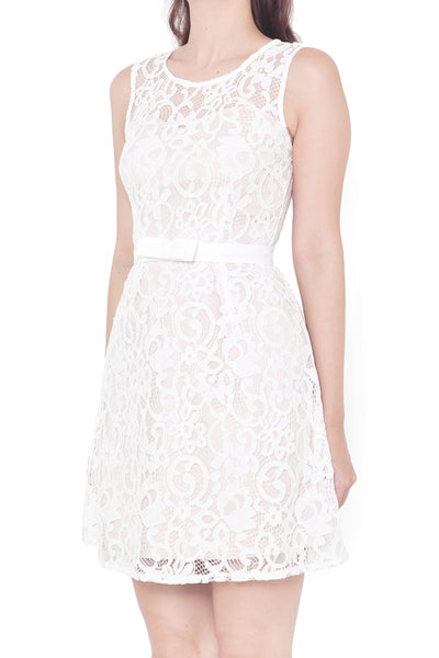Chresie Lace Belted Dress (White)