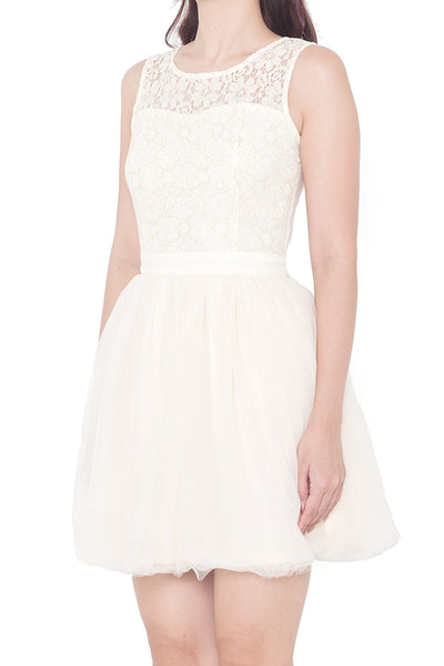 Hallin Tulle Fit & Flare Dress (Cream)