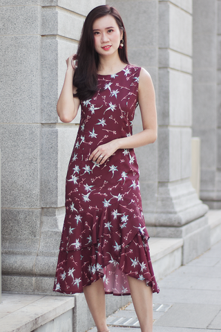 Jodia Floral Mermaid Dress (Merlot)