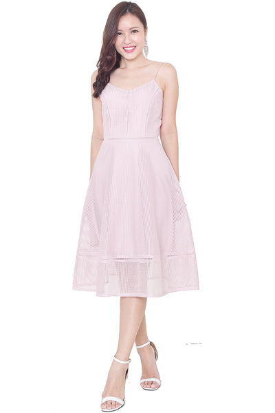 Rellan Crochet Midi Dress (Nude Pink)