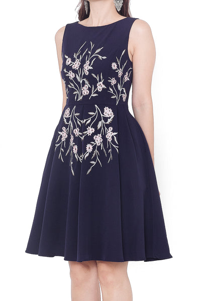 Hanlise Embroidery Dress (Navy)