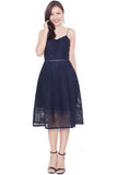 Rellan Crochet Midi Dress (Navy)