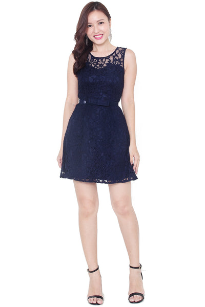 Chresie Lace Belted Dress (Navy)