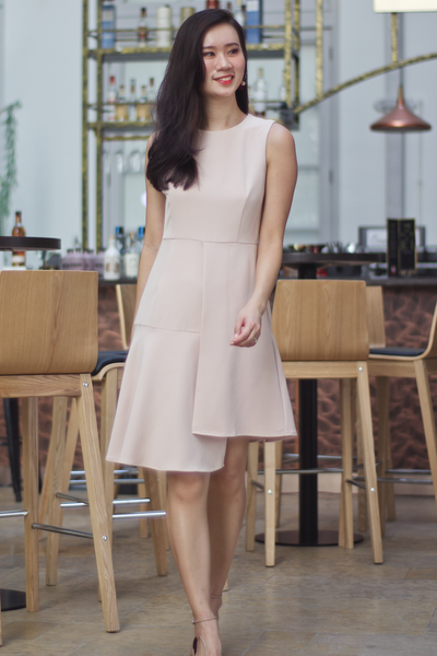 Polline Detachable Collar Flare Dress (Nude Pink)