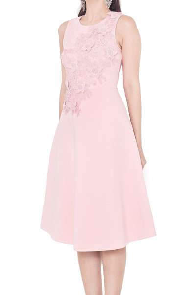 Ares Floral Midi Dress (Blush Pink)