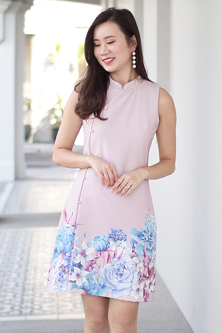 Princes Oriental Floral Dress (Blush)
