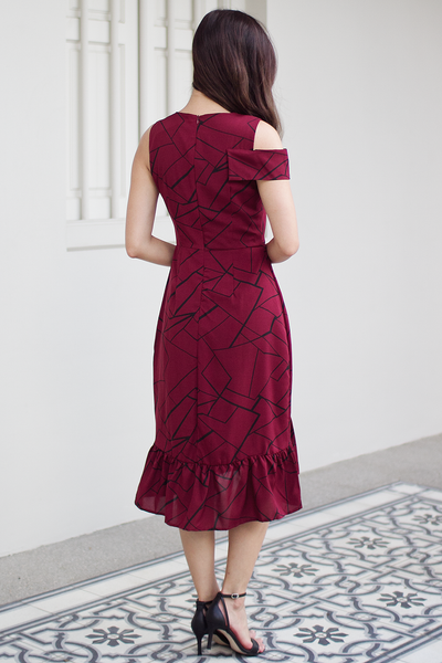 Kierra Abstract Dress (Wine)