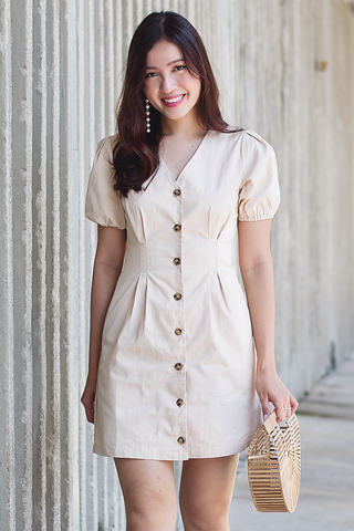 Marilye Button Dress (Beige)