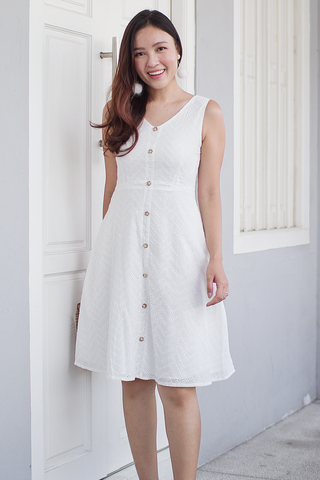 Avaline Eyelet Dress (White)