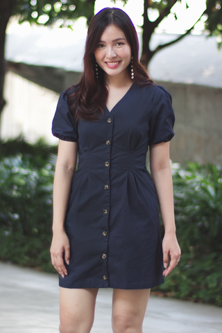 Marilye Button Dress (Navy)