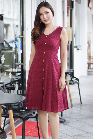 Avaline Eyelet Dress (Wine)
