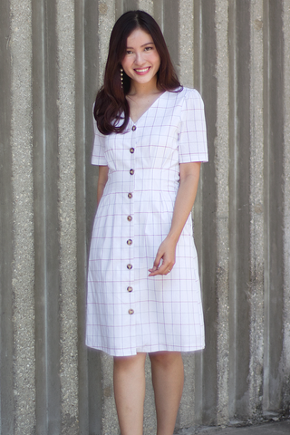 Fadore Linen Grid Dress