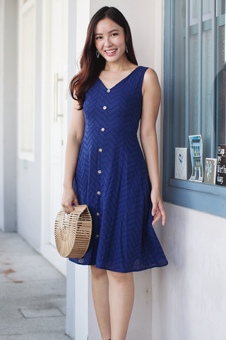 Avaline Eyelet Dress (Navy)