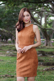 Quein Suede Fitted Dress (Camel)