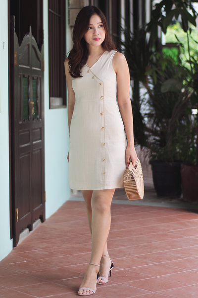 Darlene Linen Dress (Almond)