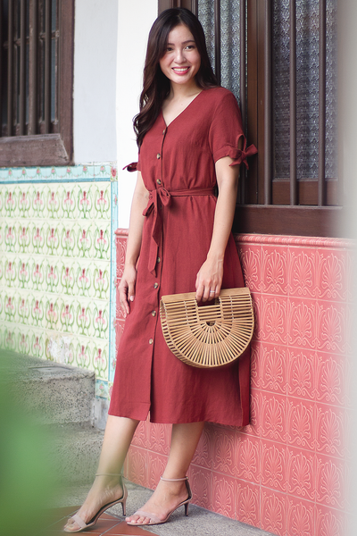 Kayenne Linen Dress (Brick)
