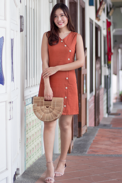 Darlene Linen Dress (Burnt Orange)