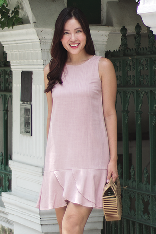 Brenice Linen Shift Dress (Pink)