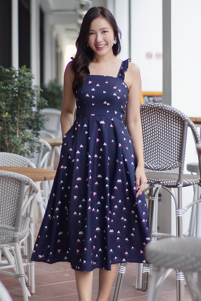 Maddie Frill Midi Dress (Navy)