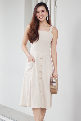 Jarelle Linen Dress (Almond)