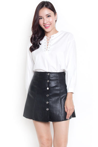Brendise Leather A-Line Skirt (Black)