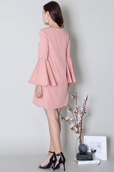 Merril Bell-Sleeve Dress (Nude Pink)