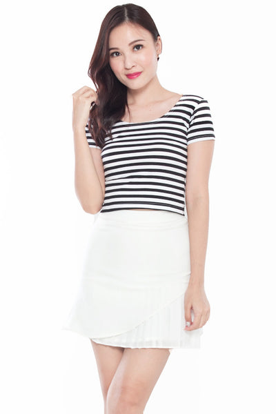 Sleeved Crop Top (Striped)