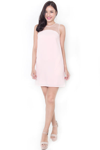 Tatlia Mesh Shift Dress (Pink)