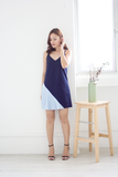 Seralle Pleat Dress (Navy)