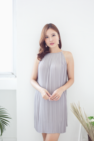 Kennedy Pleat Dress (Grey)