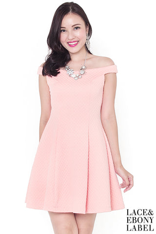 Laurent Snowflake Embossed Dress (Peach Rose)