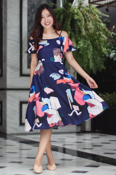 Lyaine Abstract Midi Dress (Navy)