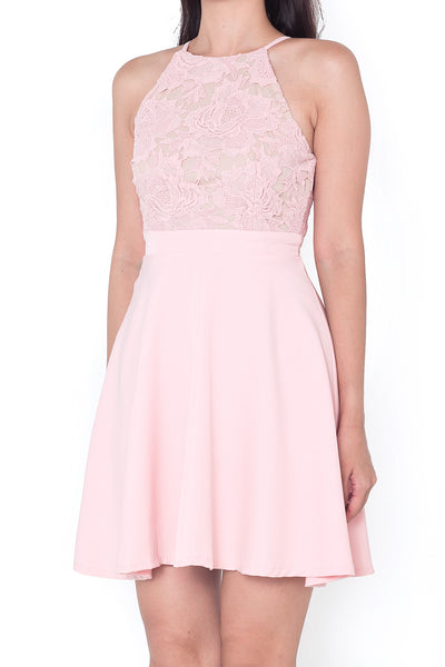 Shellyn Lace Halter Dress (Pink)