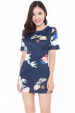 Kristan Floral Shift Dress (Navy)