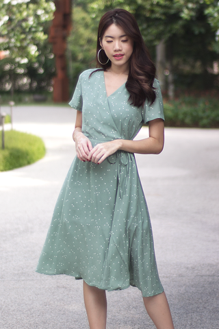 Hadley Hearts Midi Dress (Sage Green)