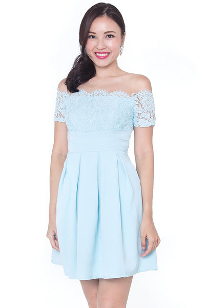 Castella Off-Shoulder Dress (Sky)