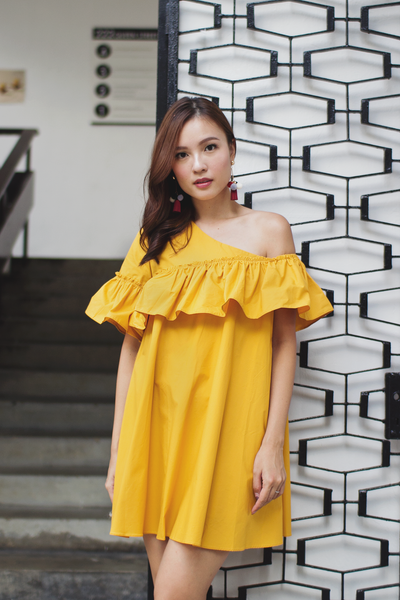 Millan Toga Dress (Mustard) (Backorder #2)