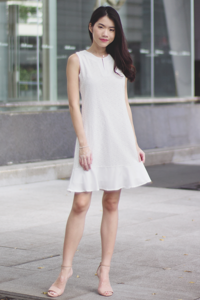 Kennedy Eyelet Dress (White)