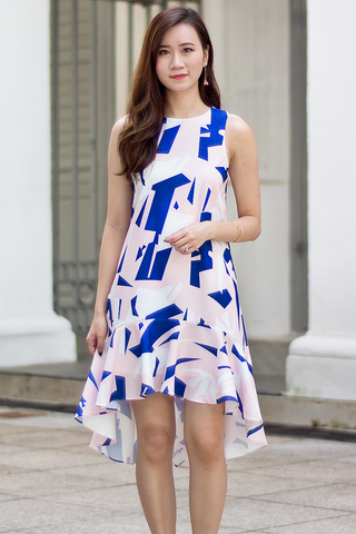 Lellane Abstract Dress (Pink)