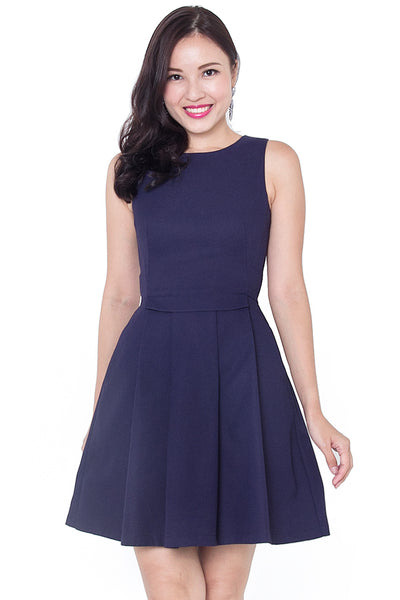 Valle Pleat Work Dress (Navy)