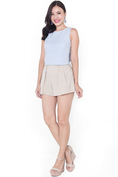 Shonda Ribbon Back Crop Top (Blue)