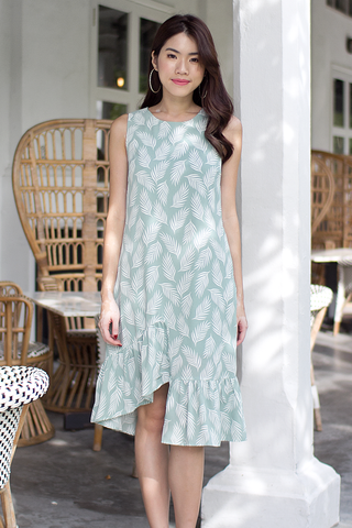 Carrina Abstract Midi Dress (Sage Green)