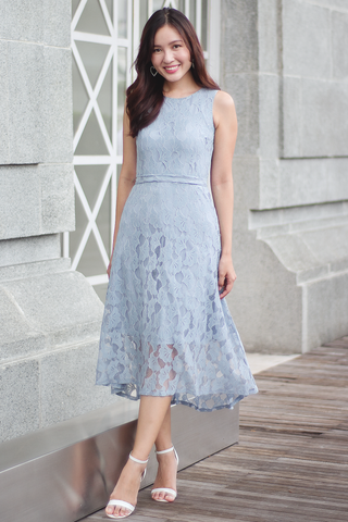 Cambert Lace Dress (Ash Blue)